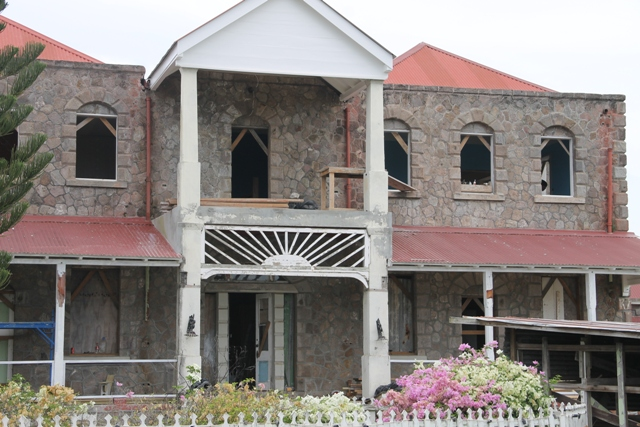 The front view of the Government House at Bath Plain on June 20, 2017, under restoration