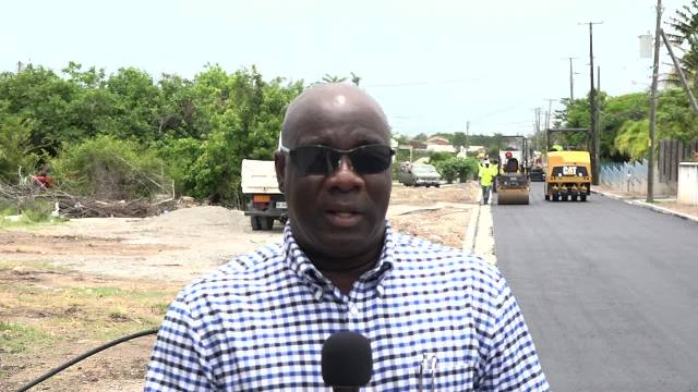 Hon. Alexis Jeffers, Minister of Communication and Works in the Nevis Island Administration at the Shaws Road Rehabilitation Project on June 14, 2017
