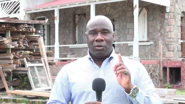 Hon. Alexis Jeffers, Minister of Housing and Land on Nevis at the Government House Restoration Project at Bath Plain on June 20, 2017