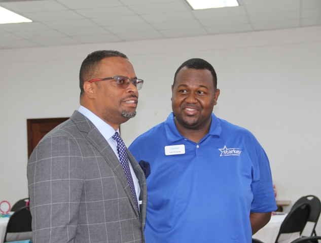 (l-r) Kirk Richards, the Starkey Hearing Foundation's International Development Director for the Caribbean with Hon. Mark Brantley, Deputy Premier of Nevis and Minister of Health at Foundation's mission at the Anglican Church Hall in Charlestown on June 08, 2017