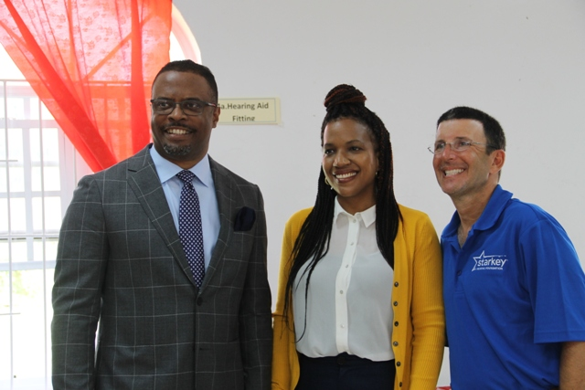 (l-r) Hon. Mark Brantley Deputy Premier of Nevis and Minister of Health and Nicole Slack-Liburd, Permanent Secretary in the Ministry of Health and Todd Bloom of the Starkey Hearing Foundation at foundation's hearing mission at the Anglican Church Hall in Charlestown on June 08, 2017