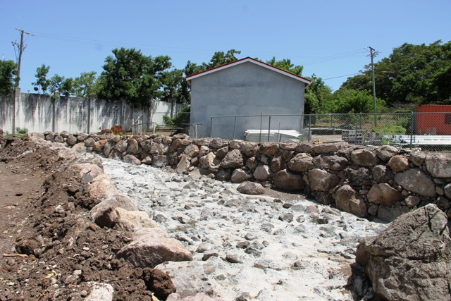 Rock revetment work at Stoney Grove, part of the Nevis Disaster Management Department's Enhancing Disaster Resilience and Emergency Shelter Management Project
