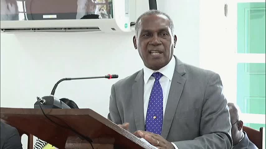 Hon. Vance Amory, Premier of Nevis and Minister of Finance in the Nevis Island Administration making his presentation at a sitting of the Nevis Island Assembly on July 20, 2017