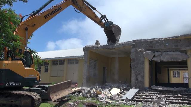Demolition of the administration block at the Gingerland Secondary School on July 17, 2017