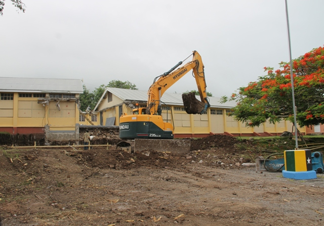 Ongoing works at the Gingerland Secondary School by a local contractor under the supervision of the Public Works Department in the Ministry of Communication and Works on Nevis