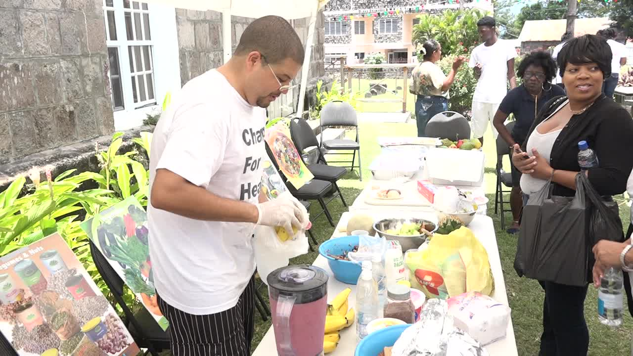 Chef Michael Henville was on hand at the Barrels For Chance Inc. Health Fair at the St. Paul's Anglican Church Hall in Charlestown on July 28, 2017, with freshly made smoothies for patrons