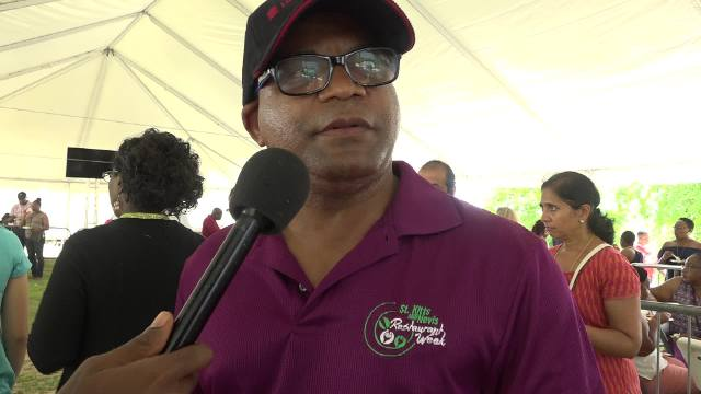 Hon. Lindsay Grant, Minister of Tourism in St. Kitts at the Nevisian Chef Mango Fest at Oualie Beach on July 09, 2017