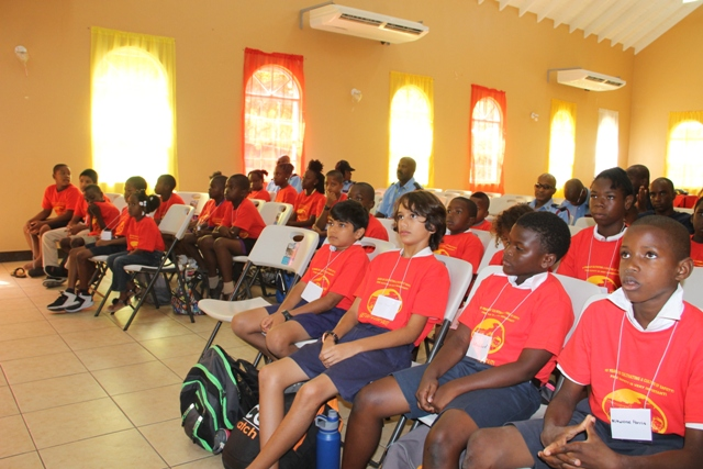 A section of participants at the opening ceremony of the St. Kitts and Nevis Fire and Rescue Service, Nevis Division 15th Annual Summer Safety Programme at the Jessups Community Centre on July 03, 2017