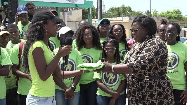 A gift from a group of visiting youths from the New Life Baptist Church in Tortola to Hon. Hazel Brandy-Williams, Junior Minister in the Ministry of Youth on Nevis at the Charlestown Pier on July 03, 2017
