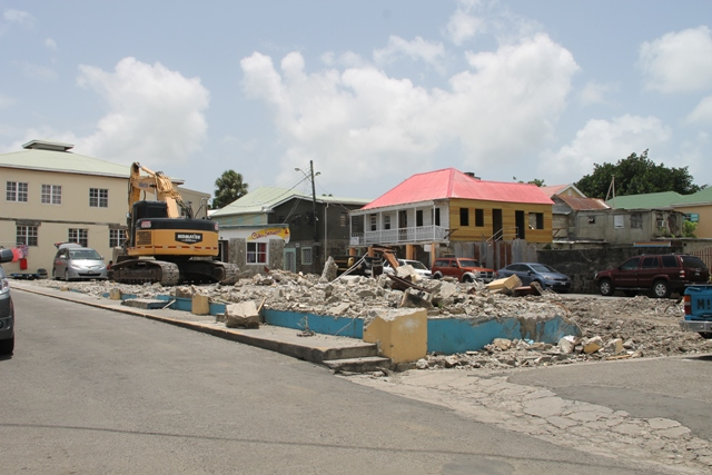 Ongoing demolition work on August 15, 08, 2017, on the site of the Reconstruction of Treasury Building Complex Project next to the George Mowbray Hanley Market Complex (Charlestown Public Market)