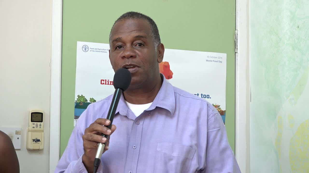 Mr. Eric Evelyn, Permanent Secretary in the Ministry of Agriculture on Nevis at the announcement ceremony at the ministry on August 18, 2017, of the most recent students who will be pursuing studies at Earth University in Costa Rica