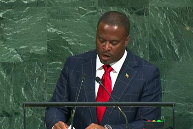 Hon Mark Brantley, Minister of Foreign Affairs and Deputy Premier in the Nevis Island Administration addressing the General Debate at the 72nd Session of the United Nations General Assembly on September 23, 2017, in New York
