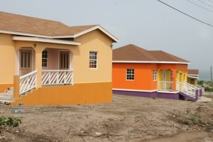 Finished affordable homes at the Nevis Housing and Land Development Corporation's Cedar View Development Project at Maddens on October 18, 2017
