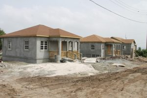 Affordable homes under construction at the Nevis Housing Development Corporation's Cedar View Development Project at Maddens on October 18, 2017