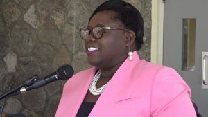 Hon. Hazel Brandy-Williams Junior Minister in the Ministry of Social Development delivering remarks at a Celebration of Centenarians at the Flamboyant Nursing Home, recently hosted by the Social Services Department, Senior Citizens Division