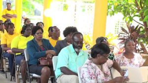 Caregivers and family members of the honourees at the Celebration of Centenarians held recently at the Flamboyant Nursing Home by the Social Services Department, Senior Citizens Division in the Ministry of Social Development