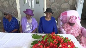 "(L-r) Florence 'Mama Katie' Liburd, Rosetta Hull, Artemisia ""Ettie Jeffers and Celian ""Martin"" Powell four of the eight centenarians honoured recently by the Social Services Department, Senior Citizens Division in the Ministry of Social Development"