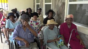 Senior citizens at the Flamboyant Nursing home at a ceremony hosted by the Social Services Department, Senior Citizens Division in the Ministry of Social Development recently to honour centenarians on Nevis