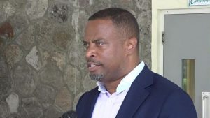 Hon. Mark Brantley, Deputy Premier of Nevis and Senior Minister in the Ministry of Social Development, delivering remarks at a recent ceremony at the Flamboyant Nursing Home, hosted by the Social Services Department, Seniors Division in the Ministry of Social Development, to honour the eight centenarians on Nevis