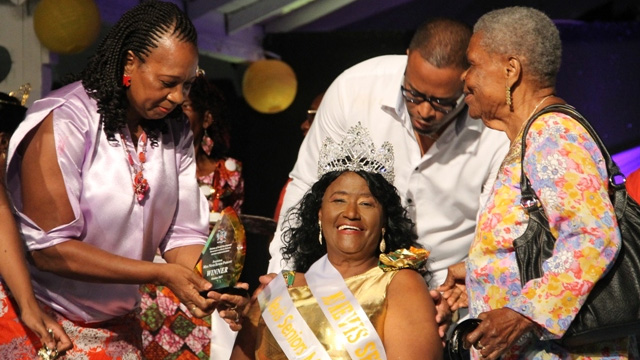 Miss Nevis Senior Pageant winner Ms. Mareta Hobson with (l-r) Patron Mrs. Garcia Hendrickson, Hon. Mark Brantley, Deputy Premier and Minister of Social Development and her neighbour Mrs. Pauline Brister at the Nevis Cultural Complex on October 28, 2017