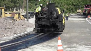 Final asphalting works by the Public Works Department in the Nevis Island Administration on November 15, 2017, on a section of the Braziers road under the Braziers Road Improvement Project