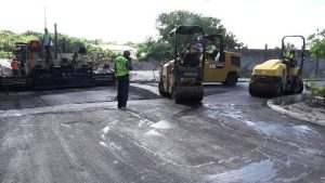 Equipment bought by the Nevis Island Administration, in use during the road works in the Marion Heights area on November 15, 2017, as part of the Braziers Road Improvement Project
