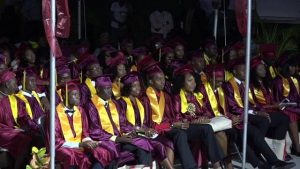 A section of the 61 graduands of the Nevis Sixth Form College Graduating Class of 2017, at the Charlestown Secondary School and the Nevis Sixth Form College Graduation and Prize-giving Ceremony on November 15, 2017, at the Nevis Cultural Complex