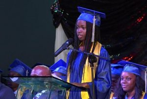 Ms. Azel Williams of the Charlestown Secondary School Graduating Class of 2017 delivering remarks on behalf of Valedictorian Mckebou Tross at the Charlestown Secondary School and the Nevis Sixth Form College Graduation and Prize-giving Ceremony on November 15, 2017, at the Nevis Cultural Complex