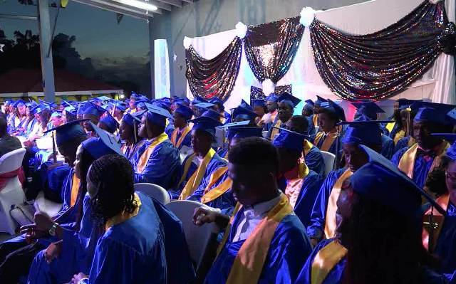 A section of the Charlestown Secondary School Graduating Class of 2017 at the Charlestown Secondary School and the Nevis Sixth Form College Graduation and Prize-giving Ceremony at the Nevis Cultural Complex on November 15, 2017