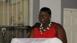 Hon. Hazel Brandy-Williams delivering remarks at the Gala and Awards Ceremony hosted by the Ministry of Social Development, Social Services Department Seniors Division at the Occasions Entertainment Arcade on October 31, 2017