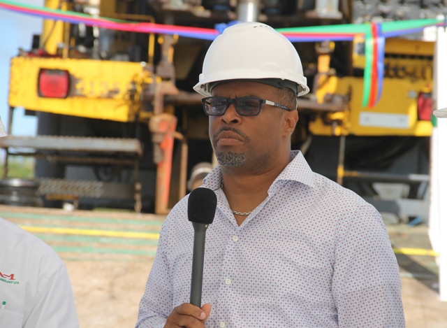 Acting Premier of Nevis Hon. Mark Brantley delivering remarks at a ribbon cutting ceremony at Hamilton Estate on November 22, 2017 to signal the start of a test well