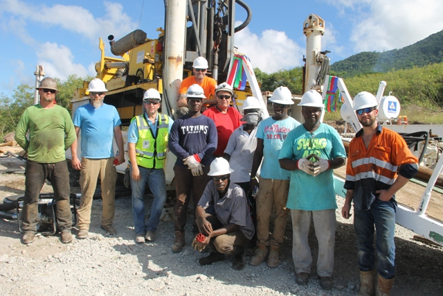Drillers and local personal employed to assist drillers on the Nevis Renewable Energy International geothermal project at Hamilton Estate