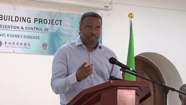 Hon. Mark Brantley, Deputy Premier of Nevis and Minister of Health delivering remarks at the opening ceremony for the Workshop for the Prevention and Control of Chronic Kidney Disease at the St. Paul's Anglican Church Hall on November 07, 2017