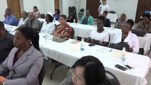 Mrs. Shelisa Martin-Clarke, Health Planner in the Ministry of Health on Nevis delivering remarks at the opening ceremony for the Workshop for the Prevention and Control of Chronic Kidney Disease at the St. Paul's Anglican Church Hall on November 07, 2017