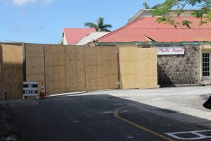A barricade set up near the bus stop in Charlestown next to the construction site in the area of the Charlestown Public Market for the Nevis Island Administration's (NIA) $8.5million Treasury Renovation Project in Charlestown