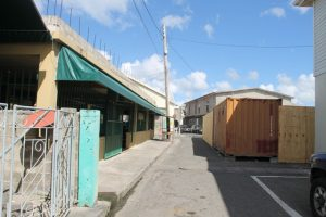 Barricades set up around the construction site in the area of the Charlestown Public Market for the Nevis Island Administration's (NIA) $8.5million Treasury Renovation Project in Charlestown