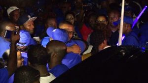 Premier of Nevis Elect Mr. Mark Brantley greeting jubilant supporters of the Concerned Citizens Movement outside the party's headquarters on Government Road, following the announcement of the election results on December 19, 2017