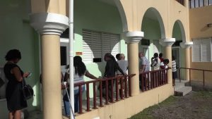 Voters in the Nevis Island Assembly at the Elizabeth Pemberton Primary School polling station on December 18, 2017