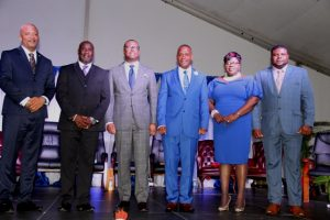 Members of the Nevis Island Administration (l-r) Hon. Spencer Brand, Deputy Premier of Nevis Hon. Alexis Jeffers, Premier of Nevis Hon. Mark Brantley, Hon. Eric Evelyn, Hon. Hazel-Brandy Williams and Hon. Troy Jeffers moments after thy were sworn in at the Inauguration Ceremony at the Elquemedo T. Willett Park in Charlestown on December 24, 2017