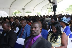 A section of officials present at the Inauguration Ceremony of the Nevis Island Administration at the Elquemedo T. Willett Park on December 24, 2017