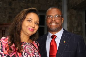 Premier of Nevis Hon. Mark Brantley and his wife First Lady Sharon Brantley, moments after he was sworn-in as premier at the High Court in Charlestown on December 19, 2017