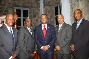 New Premier of Nevis Hon. Mark Brantley Hon. Mark Brantley (middle) with his colleagues (l-r) Mr. Eric Evelyn, Mr. Alexis Jeffers, Mr. Spencer Brand and Mr. Keith Scarborough after he was sworn in as premier at the High Court in Charlestown on December 19, 2017