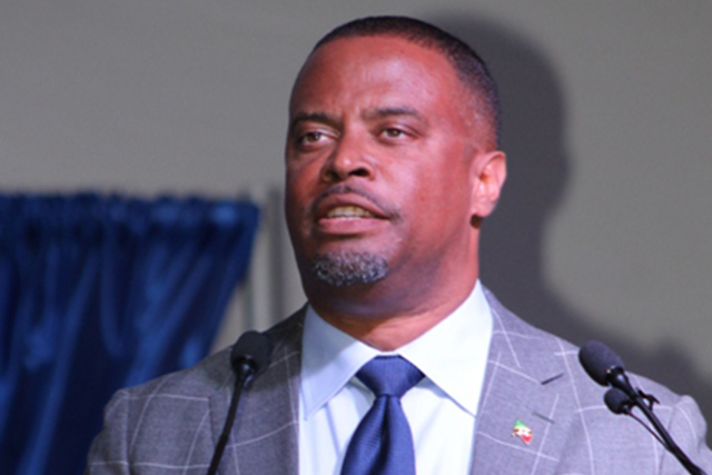 Hon. Mark Brantley, Premier of Nevis delivering his address at the Inauguration of the Nevis Island Administration at the Elquemedo T. Willett Park on December 24, 2017