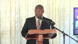 Mr. Brian Dyer, Director of the Nevis Disaster Management Department delivering remarks recently at the closing ceremony of the Improving Disaster Resilience and Emergency Shelter Management Project on Nevis at the Albertha Payne Community Centre at Bath Village