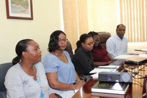 Ministry of Finance staff at the Budget Estimates meeting at the Ministry of Finance conference room on January 09, 2018. (L-r) Mrs. Jasmine Brazier, Economist; Mrs. Joan Browne, Principal Assistant Secretary in the Ministry of Finance; Ms. Shakeemia Browne and Ms. Abaena Simon, Budget Analysts and Mr. Colin Dore, Permanent Secretary in the Ministry of Finance