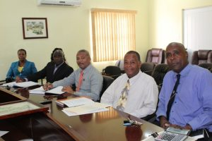 A section of those present at the Budget Estimates meeting at the Ministry of Finance conference room on January 09, 2018. (L-r) Mr. Stedmond Tross, Cabinet Secretary; Hon. Eric Evelyn; Hon. Spencer Brand; Hon. Alexis Jeffers, Deputy Premier of Nevis; Ms. Ornette Herbert, Permanent Secretary of Human Resources and (partly hidden) Ms. Renita Seabrookes, Administrative Officer in the Human Resources Department.