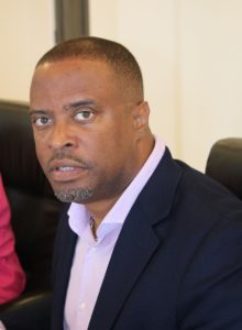 Hon Mark Brantley, Premier of Nevis and Minister of Security in the Nevis Island Administration, at a Cabinet meeting at Pinney's with the high command of the Royal St. Christopher and Nevis Police Force, Nevis Division, on January 24, 2018