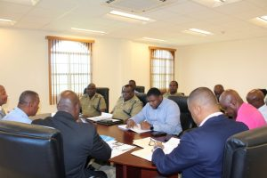 The team of senior officers at the Royal St. Christopher and Nevis Police Force, Nevis Division, led by Deputy Commissioner of Police Hilroy Brandy meeting with the Cabinet of the Nevis Island Administration in the Cabinet room at Pinney's on January 24, 2018