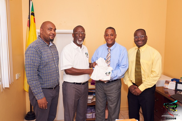"Members of the Nevis Culturama Committee pay a courtesy call on Hon. Eric Evelyn, Minister of Culture at his office on January 24, 2018. (L-r) Mr. Huey Sargeant, Chairman of Marketing and Promotion on the Nevis Culturama Committee, Mr. Antonio ""Abonaty"" Liburd, Executive Director and Chairman of the Nevis Culturama Committee, Hon. Eric Evelyn, Minister of Culture and Mr. Keith Glasgow, Permanent Secretary in the Ministry of Social Development and Culture and Chairman of the Committee's Senior Kaiso Contest"
