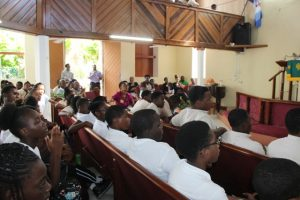 Students and staff of the Gingerland Secondary School at the school's 45th Anniversary Thanksgiving Service at the Gingerland Methodist Church, on Wednesday January 24, 2018
